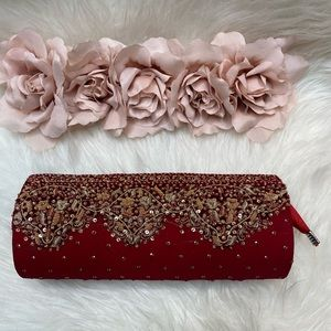 💕3/$50💕 Red Silk Clutch Indian Gold Accents